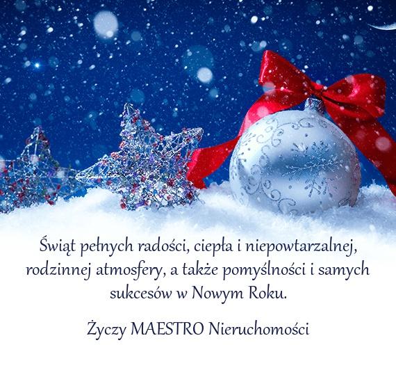 Życzenia świąteczne - MAESTRO Nieruchomości - Księgowość wspólnot mieszkaniowych